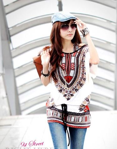 BOHO White Long Top With Lycra Belt