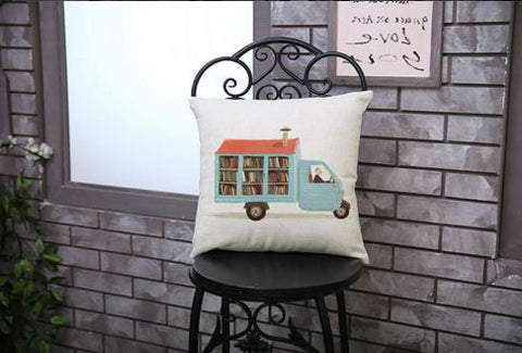 Van with books cushion covers
