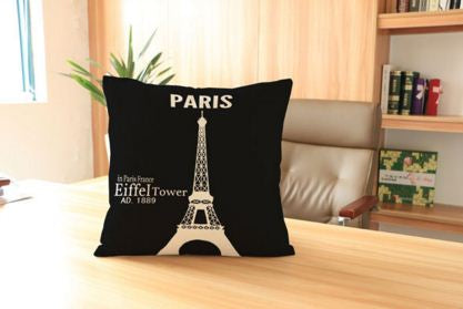 Highlighted Effil Tower Cotten Linen Cushion Covers 45Xcm45XCM
