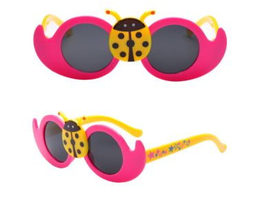 Kids Dark Pink Lady Bug Cute Sun Glasses