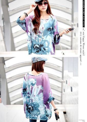 Flower Blossum Purple Full Sleeves Kaftan