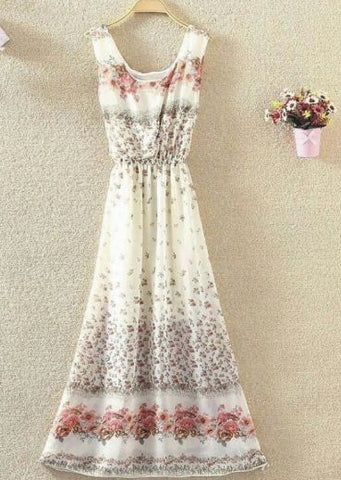 Off white printed summer beach wear cut sleaves long gown