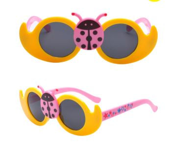 Kids Yellow Lady Bug Cute Sun Glasses