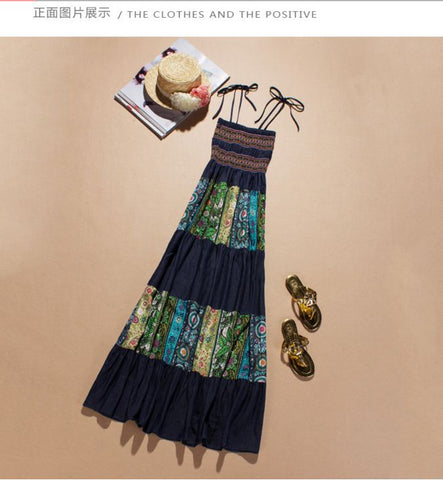 Ladies'Fashion Printed Strap Denim Dress