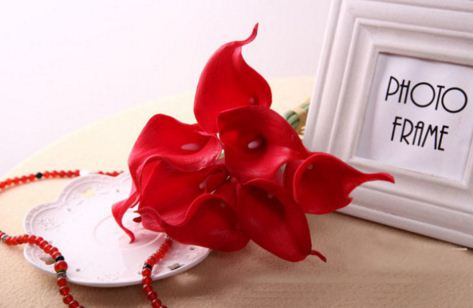 Real Touch Imported Mini Artificial Lily Wedding Flowers Bouquet Home Decor