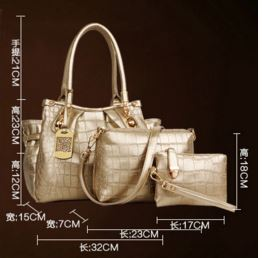 Elegant 3 Color Crocodile Check Shiny Set Bag