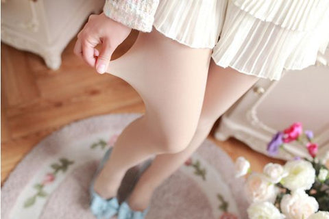 Skin Color Satin Touch Thigh Waist Stockings