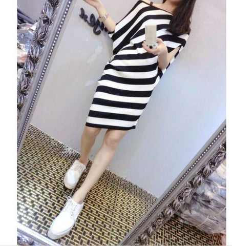 2016 summer new Korean fashion cropped silk ice thin short-sleeved knit dress has a belt