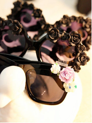 Buyvel Fashion Oversized Girls Retro Floral Flower UV Glasses With Case