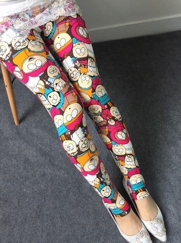 Cartoon Printed Ice Silk Legging