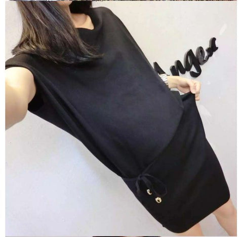 Black 2016 summer new Korean fashion, Ice Silk, short-sleeved knit dress with belt