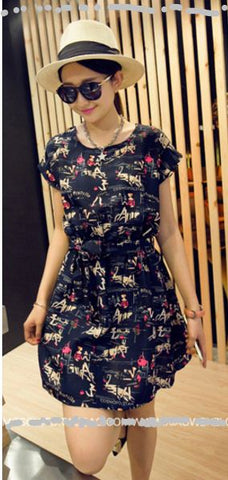 Buyvel Country Print Short Sleeves Dress