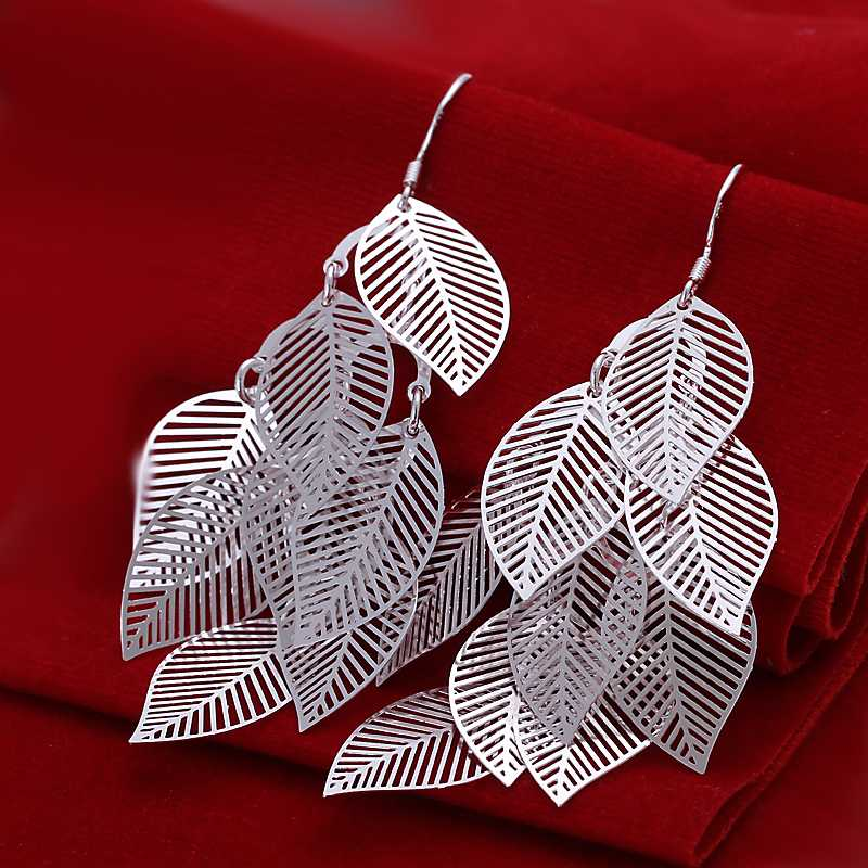 Buyvel silver earings fashion jewelry Gloss Leaves