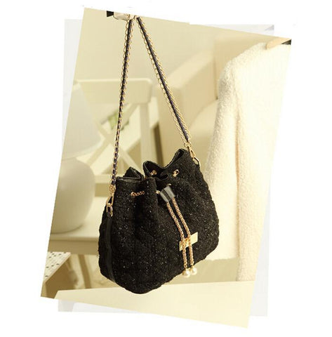 Buyvel Black Trendy Sequin Bucket Bag