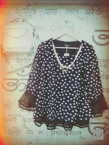 Buyvel Polka Dot Organza Party Top With Belt & Neckles