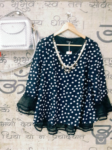 Buyvel Polka Dot Organza Party Top With Belt & Neckless