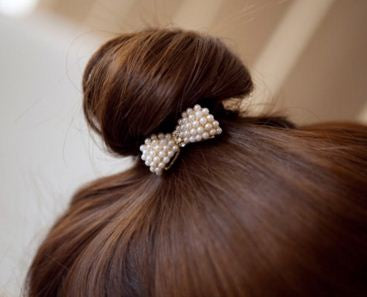 White Pearl Butterfly Style Hair Bow Clip
