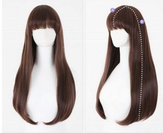New resistant Fashion Lady Women Brown Straight long wig