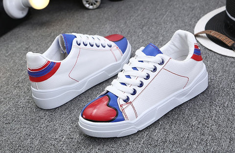 Buyvel 2016 White Mixed Color Casual Shoes Red Heart Printed Shoes concise style