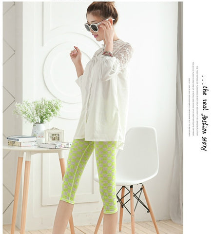 Buyvel Green Block Printed Milk Silk Leggings