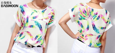 Leaf Pattern New Ladies' White Top Tops, Tees & Shirts- Available online on Buyvel