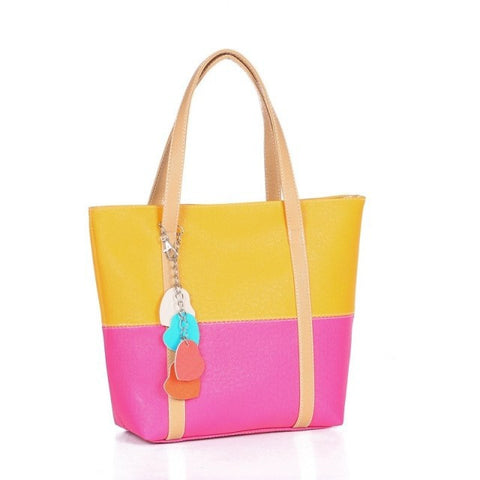 Colorblock Tote Bag with Pendant Design Yellow Pink Handbags- Available online on Buyvel