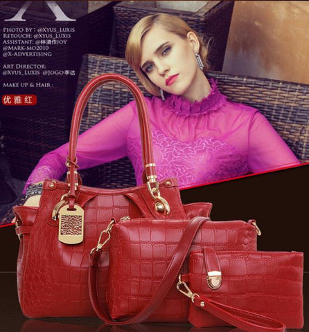 Elegant 3 Color Crocodile Check Shiny Set Bag - Buyvel