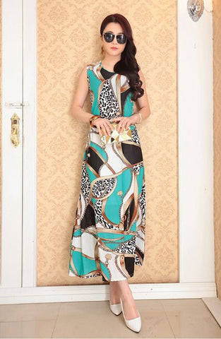 Aqua Design Pattern Abstract Print Designer Gown - Buyvel