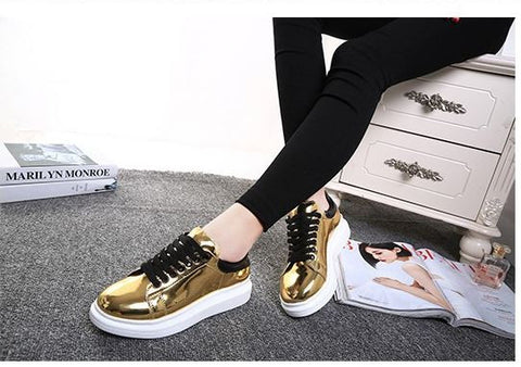 Waterproof PU Imported Flat Shoes Gold Women's Footwear- Available online on Buyvel
