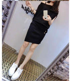 Black 2016 summer new Korean fashion, Ice Silk, short-sleeved knit dress with belt Dresses- Available online on Buyvel