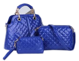 Soft Quilted Bag Set Of 3 Blue Set Bags- Available online on Buyvel