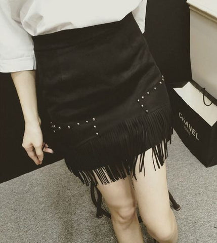 Fringed Embellished Suede Mini Skirt Shorts & skirts- Available online on Buyvel