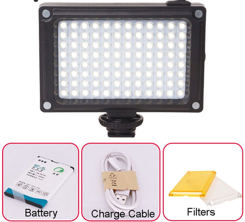 96 LED Video Light with Battery Filters Hotshoe Photo Lighting on Camera for Canon Nikon Sony Camcorder DV DSLR