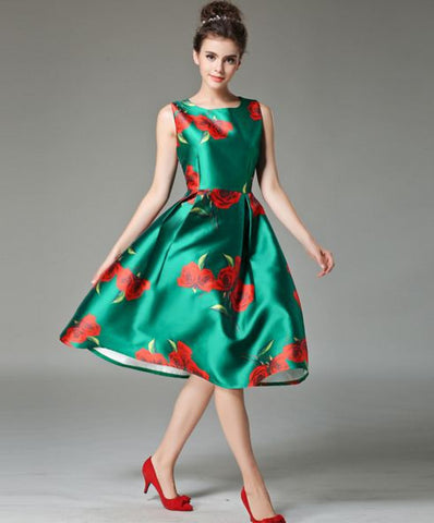 Big Flower Party Wear Satin Silk Dress - Buyvel