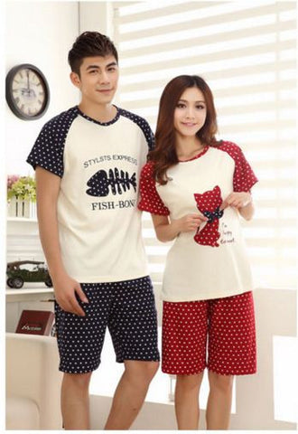 Couple Night Suit - Cat Fish Couple Night Suit- Available online on Buyvel