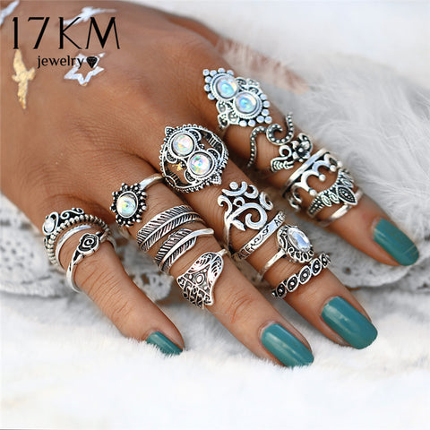 16 PCS/set Vintage Hand Knuckle Opal Finger Ring Set
