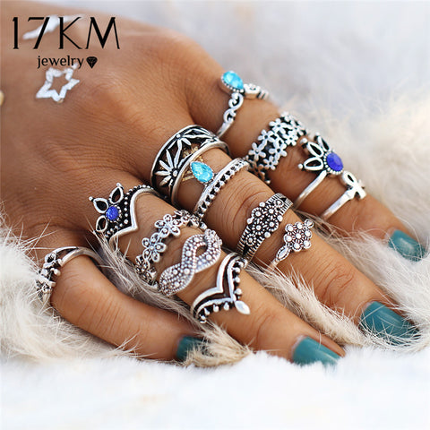Infinite Knuckle Rings For Women Vintage Geometric Pattern Crystal Rings Set