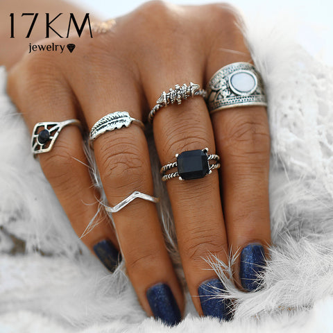Rhinestone Knuckle Rings for Women 6PCS/Set Boho Retro Female Mix Midi Finger Ring Sets