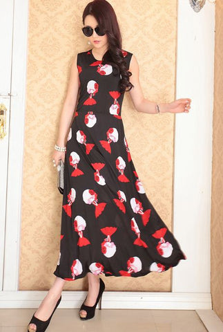 Baby Doll Print Ice Silk Gown - Buyvel