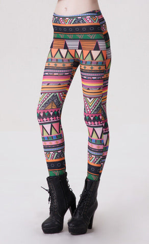 Aztec Print, Tribal stretchable Leggings - Buyvel