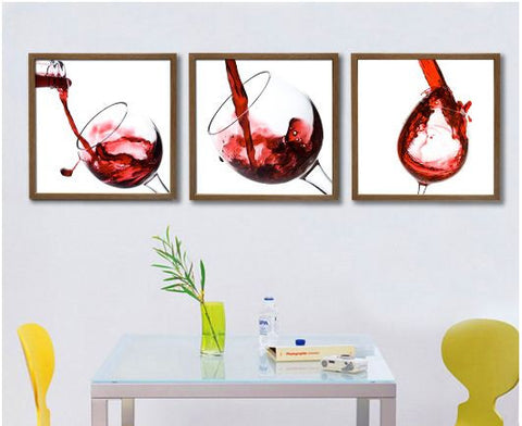 Flowing Wine Wooden Framed 3 piece Painting set -Elegance series Paintings- Available online on Buyvel