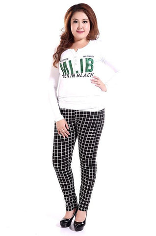 Checkerboard Plus Size Pencil Pants - Buyvel