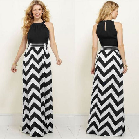 Cut Sleeves Black And White Zig Zag Summer Wear Long Gown Dresses- Available online on Buyvel