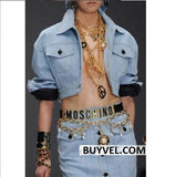 Moschino Adjustable Brass Logo Letter Belt Women's Belts- Available online on Buyvel