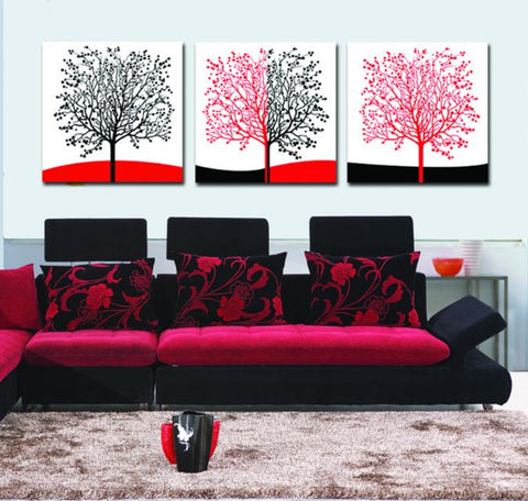 Abstract art Set of 3 Frame less paintings - Buyvel