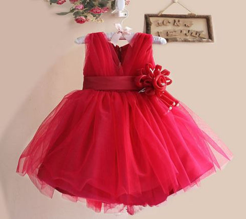 Red Cut Sleaves Full Net Party Wear Baby Dress Girl's dresses- Available online on Buyvel