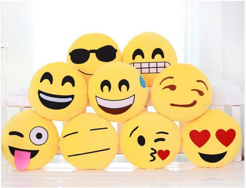 Cute Emoji/ Smileys For Rooms/ Cars with Vacuum Hangers size 8in x 8in Soft Toys- Buyvel
