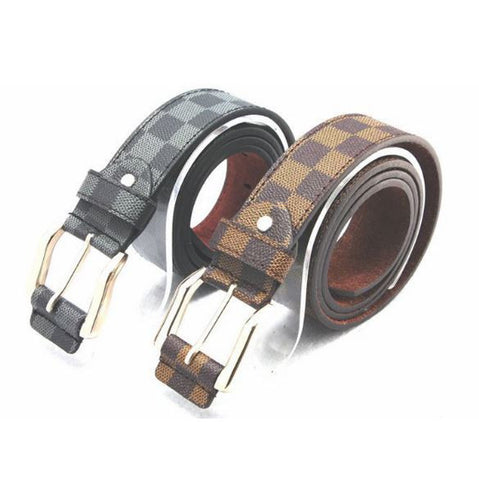 LV Print Imported Belt Metallic Buckle Men's Belts- Available online on Buyvel