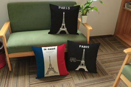 Eiffel Tower Highlighter Cotton Linen Cushion Covers 45cmx45cm Cushions & Covers- Available online on Buyvel