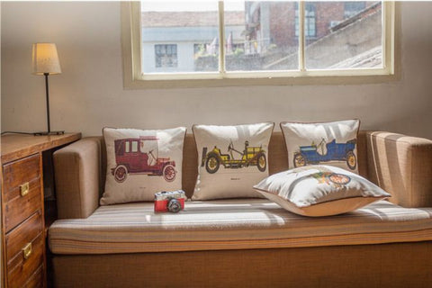 Highlighter vintage car design cushion cover